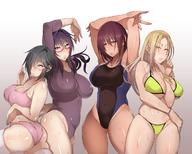 4girls :o armpits arms_behind_head ass between_breasts bikini black_hair blonde blush bracelet breasts cameltoe camisole covered_navel crossed_arms earrings erect_nipples erect_nipples_under_clothes eyebrows_visible_through_hair female fingernails freckles gradient gradient_background groin hair_between_eyes hair_over_one_eye high_resolution huge_breasts jewelry korotsuke large_breasts leotard long_hair looking_at_viewer megane milf multiple_girls nail_polish navel nipples one-piece_swimsuit one_arm_up original pantsu pendant pink_panties plump purple_eyes purple_hair shiny shiny_skin short_hair simple_background stud_earrings sweatdrop swimsuit tanlines tanned thighhighs underwear white_legwear white_thighhighs yellow_bikini yellow_eyes yellow_nails yellow_swimsuit // 1200x960 // 175.5KB
