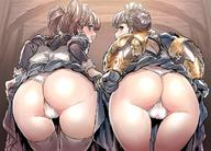 2girls ass bangs bent_over black_dress black_hair blue_eyes blunt_bangs braid braided_bun brown_hair claudia_(granblue_fantasy) dat_ass dorothy_(granblue_fantasy) dress dress_lift female french_braid gauntlets gloves granblue_fantasy hair_bun hips juliet_sleeves long_sleeves looking_back maid maid_headdress mimonel multiple_girls open_mouth pantsu puffy_sleeves smile take_your_pick thighhighs tied_hair twintails underwear white_legwear white_panties white_underwear // 1200x861 // 203.8KB