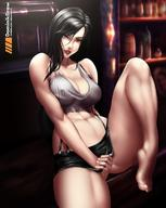 1girl bare_shoulders barefoot belly black_hair breasts brown_eyes cleavage covering covering_crotch feet female female_only final_fantasy final_fantasy_vii high_resolution large_breasts legs lips long_hair lord_dominik navel solo thighs tifa_lockhart toes // 1080x1356 // 143.6KB