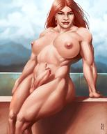 blue_eyes breasts curvy erection futa_only futanari janrockitnik large_breasts long_hair looking_at_viewer muscles muscular muscular_futanari navel nipples nude penis pubic_hair red_hair solo testicles thick_thighs // 880x1100 // 122.7KB