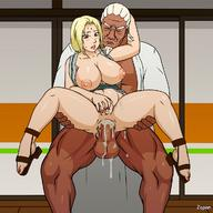 1boy 1girl areolae blonde_hair blush breasts cleavage cum cum_in_pussy dark_skin dark_skinned_male erect_nipples grabbing hand_on_ass hetero high_heels huge_breasts interracial large_breasts large_penis naruto naruto_(series) naruto_shippuuden nipples nude open_mouth penis pussy raikage reverse_suspended_congress sex thighs tsunade uncensored vaginal veins veiny_penis zapon // 1200x1200 // 170.3KB