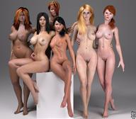 3d 6girls artist_name bare_shoulders barefoot big_breasts black_eyes black_hair blue_eyes brown_hair busty cleavage curvy dark-skinned_female dark_skin detailed_background erect_nipple erect_nipples eyelashes female female_only front_view group hair_over_one_eye hairy_pussy hand_on_hip hands_on_hip hands_on_hips hourglass_figure human long_hair looking_at_viewer multiple_females multiple_girls naked nude original_character ponytail pose posing pubes pubic_hair shadow shaved_pussy short_hair siliconaya sitting tied_hair voluptuous wide_hips // 1200x1050 // 146.8KB