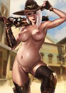 1girl ashe_(overwatch) dandon_fuga gloves gun hat lactation lipstick makeup mole nude overwatch pregnant pussy red_eyes tattoo weapon white_hair // 1240x1753 // 268.6KB