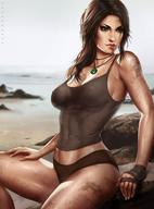 artist_name bandages beach bent_knees brown_hair closed_mouth dandon_fuga english_text fanart_from_deviantart female high_resolution jewelry lara_croft long_hair necklace nipples ocean outdoors pendant potential_duplicate realistic sitting solo text tomb_raider very_high_resolution water // 1620x2184 // 386.7KB
