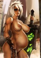 absurd_res areolae breasts brown_eyes chains dandon_fuga dirty female lactation league_of_legends milk nipples nude pregnant pussy riven scar short_hair standing sword tan_skin uncensored weapon white_hair // 1220x1725 // 252.0KB
