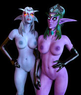 2girls 3d areolae big_breasts blue_skin breasts circlet disembowell_(artist) elf female female_only glowing_eyes green_hair green_sclera hand_on_hip hand_on_waist hourglass_figure latex latex_gloves lipstick long_gloves looking_at_viewer navel night_elf nipples nude purple_skin pussy queen_azshara royalty shaved_pussy toned tyrande_whisperwind white_hair world_of_warcraft yellow_eyes // 1240x1447 // 813.3KB