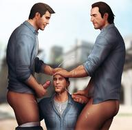 3boys bara cum drawnpr0n ejaculation erection facial hand_on_head male_focus masturbation multiple_boys nathan_drake orgasm outdoors penis rafe_adler samuel_drake smile uncharted yaoi // 1080x1061 // 152.5KB