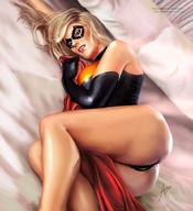 1girls arion69 artist_name ass avengers bed bedsheets big_breasts black_gloves black_leotard black_swimsuit blanket blonde_hair breasts carol_danvers dat_ass domino_mask female female_only gloves holding_blanket human leotard long_hair looking_at_viewer lying lying_down lying_in_bed lying_on_side marvel marvel_comics mask ms._marvel pinup red_blanket red_lips signature solo superheroine swimsuit thick_thighs thighs // 920x1007 // 103.1KB