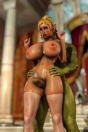 3d blonde blue_eyes breasts elf female frottage green_skin high_resolution huge_breasts huge_penis large_breasts large_nipples large_penis megane nina_(shassai) nipples orc penis pointed_ears ponytail shassai stockings sumata tied_hair topless white_stockings // 1220x1830 // 289.1KB
