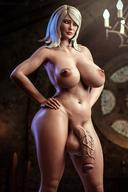 1futa absurdres areolae balls big_breasts breasts futa_only futanari highres huge_cock keira_metz large_breasts nipples nude penis solo stevencarson testicles the_witcher veiny_penis wide_hips // 1480x2220 // 306.7KB