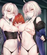 3_girls 3girls ahoge artoria_pendragon big_breasts black_necktie black_neckwear black_panties black_ribbon black_underwear breast_grab breasts closed_mouth fate_(series) fujimaru_ritsuka_(female) fur_collar fur_trim grabbing groping hair_between_eyes hair_ornament hair_ribbon highleg highleg_panties indoors jeanne_d'arc_(alter) jeanne_d'arc_(fate) jewelry licking looking_at_viewer medium_breasts multiple_girls naked_shirt navel neck_tie necklace nipples no_bra obiwan one_eye_closed panties red_eyes red_hair ribbon shiny shiny_hair shirt silver_hair standing stomach underwear yellow_eyes yuri // 980x1145 // 179.8KB