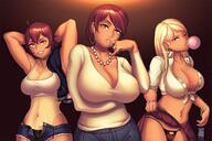 3girls ahoge arms_behind_head bangs blonde_hair bracelet breasts chewing_gum cleavage condom_belt earrings gyaru jacket_over_shoulder jewelry kogal large_breasts long_hair looking_at_viewer low-cut mature multiple_girls nail_polish navel navel_piercing necklace one_eye_closed open_fly panties pearl_necklace piercing red_hair ring scrunchie shirt short_hair short_shorts shorts skirt skirt_lift sweat take_your_pick tan tanline teeth tied_shirt unbuttoned unbuttoned_shirt underwear v-neck yellow_eyes // 1626x1084 // 233.3KB