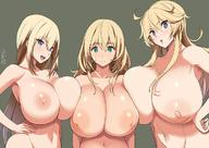 3girls ahoge atago_(kantai_collection) bismarck_(kantai_collection) blonde_hair blue_eyes blush breast_press breasts collarbone color_connection gigantic_breasts girl_sandwich green_background green_eyes hair_color_connection hand_on_hip huge_breasts inverted_nipples iowa_(kantai_collection) kantai_collection kloah long_hair multiple_girls navel nipple_piercing nipples nude open_mouth piercing revision sandwiched simple_background smile star star-shaped_pupils symbol-shaped_pupils trait_connection upper_body // 1200x851 // 162.6KB