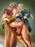 1boy 1girl ahegao anus ass blonde blush breast_sucking breasts dark-skinned_male dark_skin female happy_sex high_resolution huge_breasts huge_penis interracial large_ass large_breasts male milf naruto nipple_sucking open_mouth penis raikage stand_and_carry_position sweat tongue tongue_out tsunade vaginal // 1020x1360 // 190.6KB