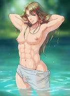 abs artist_request blonde_hair breasts bulge green_eyes long_hair navel newhalf nipples pectorals solo toned wet // 1040x1419 // 184.0KB