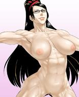 abs artist_request bayonetta bayonetta_(character) beauty_mark big_boobs black_hair breasts glasses huge_breasts long_hair long_ponytail looking_at_viewer muscles muscular_female navel nipples nude ponytail pubic_hair smile toned // 880x1093 // 98.9KB