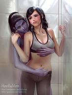 2girls artist_name black_hair bra breasts brown_eyes d.va_(overwatch) facial_mark female female_only fingering hands_up high_resolution hoobamon hug hugged_from_behind indoors lipstick makeup medium_breasts multiple_girls navel one_eye_closed overwatch pantyhose parted_lips pink_lips pink_lipstick purple_lips purple_skin shower showering sports_bra standing taken_from_behind underwear watermark web_address wet wet_hair widowmaker_(overwatch) yellow_eyes yuri // 1080x1412 // 194.5KB